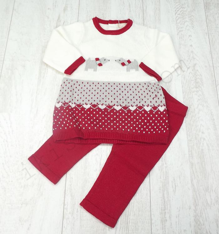 Vestido e leggins em malha vermelho