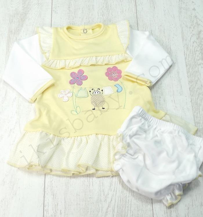 Vestido para bebé amarelo
