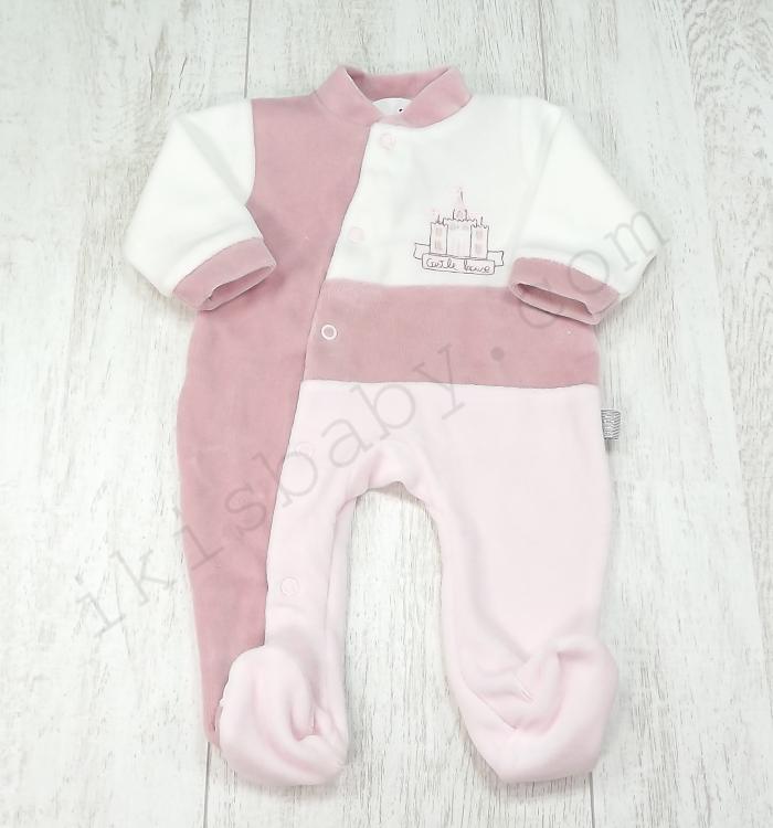 887478733 Babygrow Coroa Rosa e Branco Bordado - Ikisbaby - Loja Online