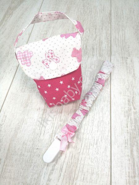 Kit chupeta rosa e branco