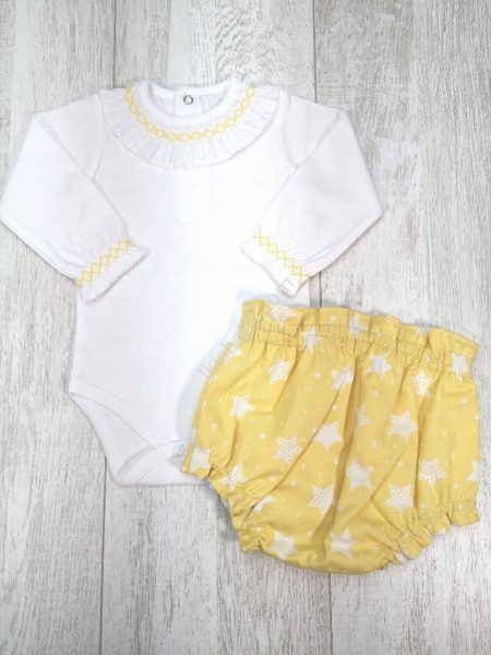 Body com Tapa Fraldas Amarelo