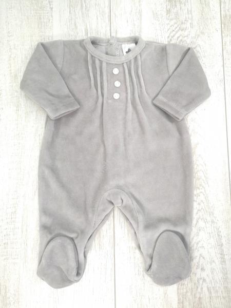 Babygrow bebé veludo cinza