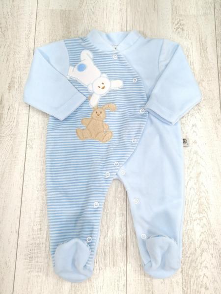 Babygrow Veludo Riscas Azul