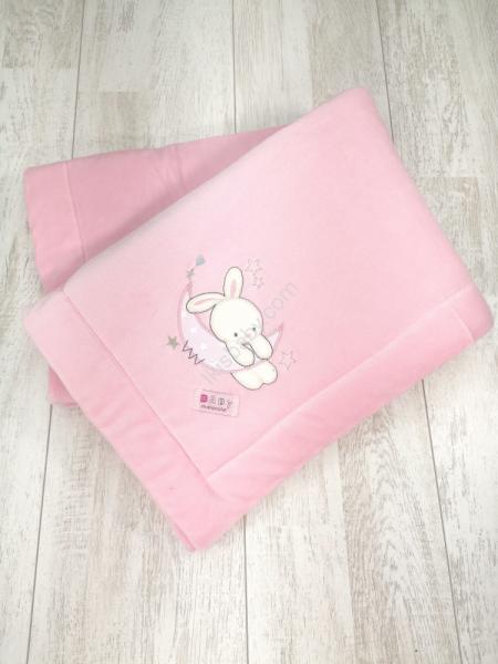 Manta Veludo Rosa com coelho