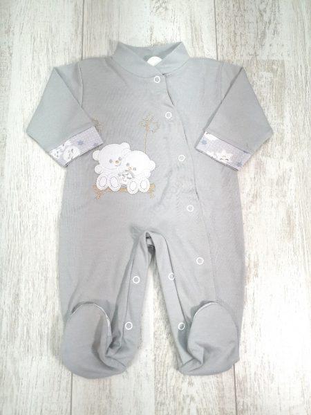 Babygrow algodão cinza ursos