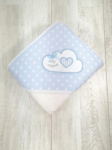 Toalha de banho azul com nuvem