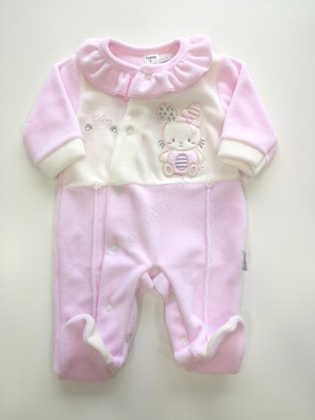 Babygrow rosa aveludado bordado