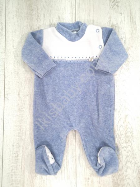Babygrow veludo azul mescla