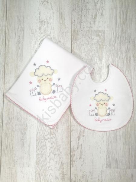 Fralda e Babete ovelha rosa