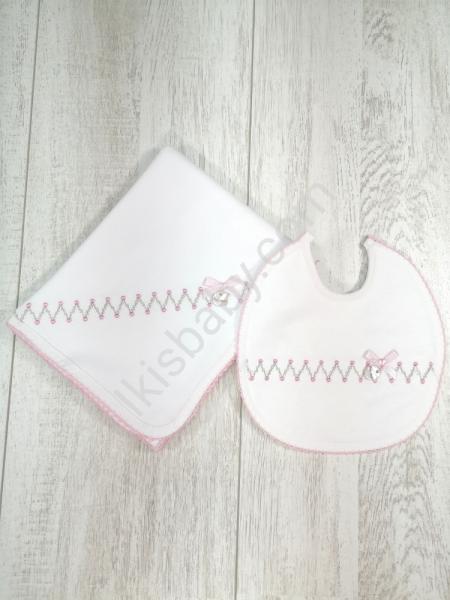 Fralda e Babete zigzag rosa
