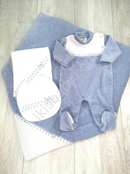 Conjunto de maternidade azul mescla