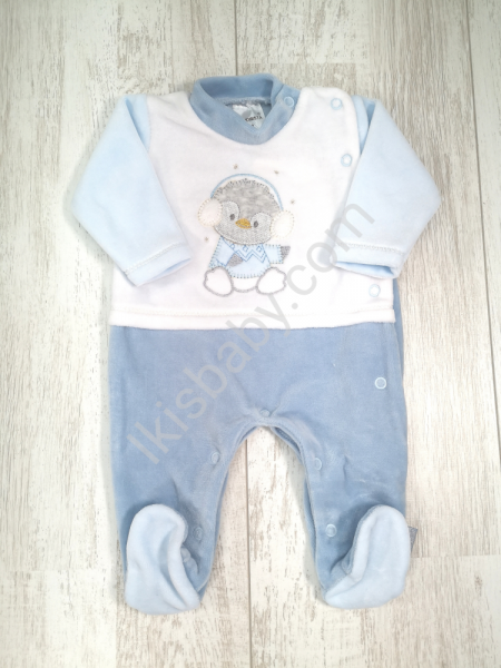 Babygrow veludo pinguim azul