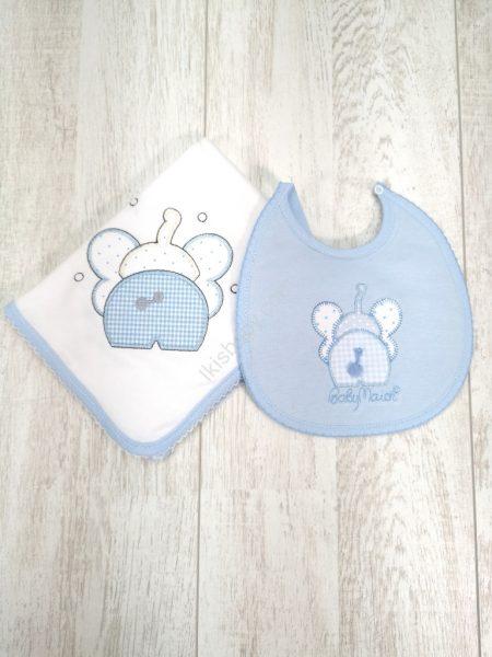 Fralda e Babete elefante azul
