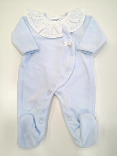 Babygrow veludo azul com gola