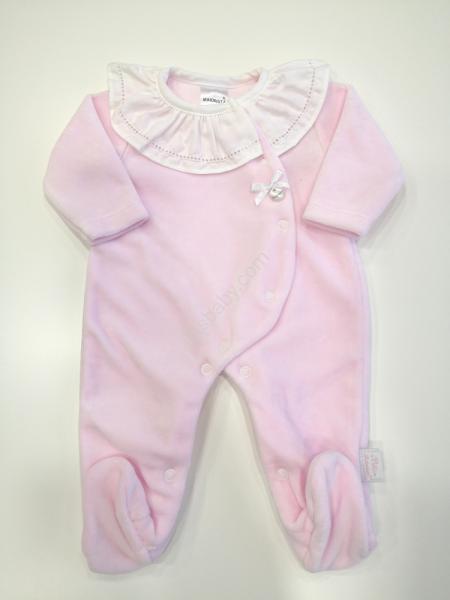 Babygrow veludo rosa com gola