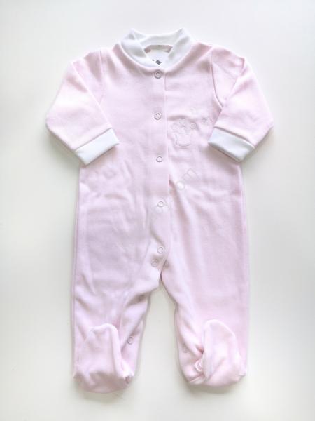 Babygrow algodão rosa cardado