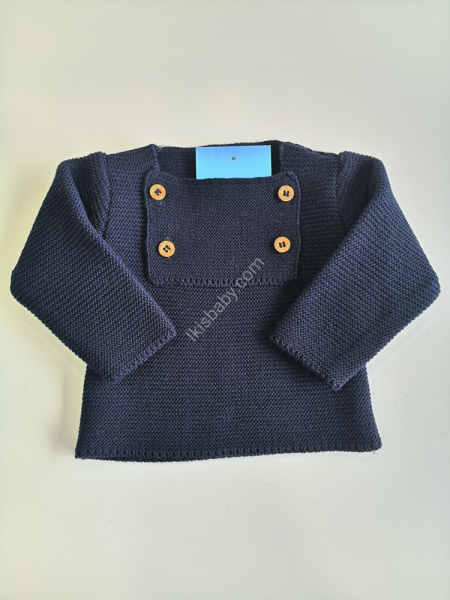 Camisola malha azul marinho