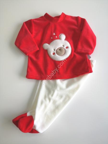Conjunto de veludo urso vermelho