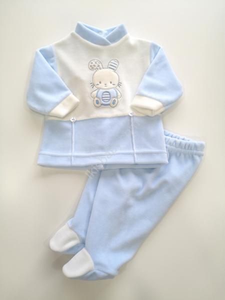 Conjunto azul aveludado bordado