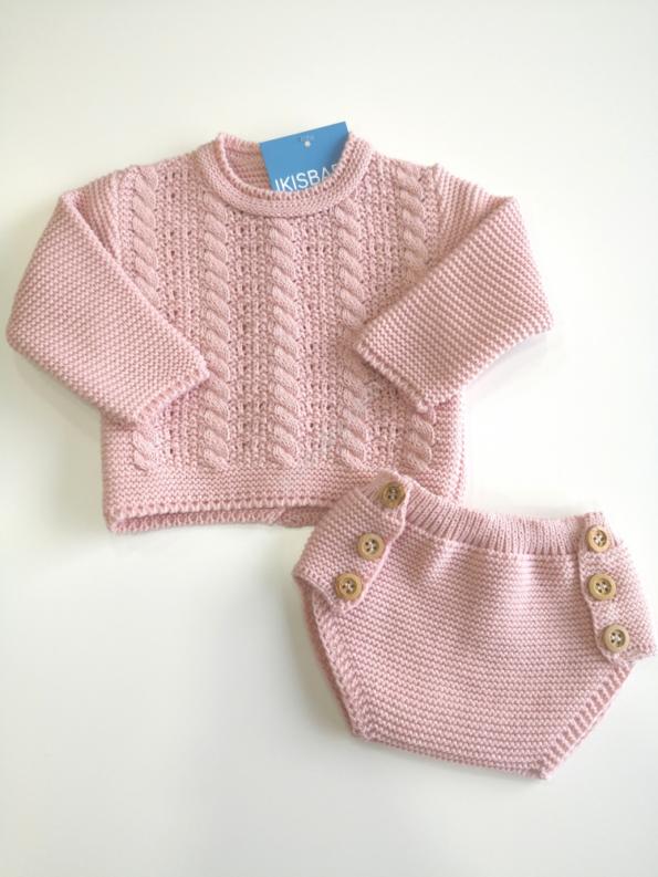 Conjunto malha bebé rosa velho
