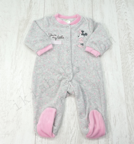 Babygrow cinza aveludado estampado