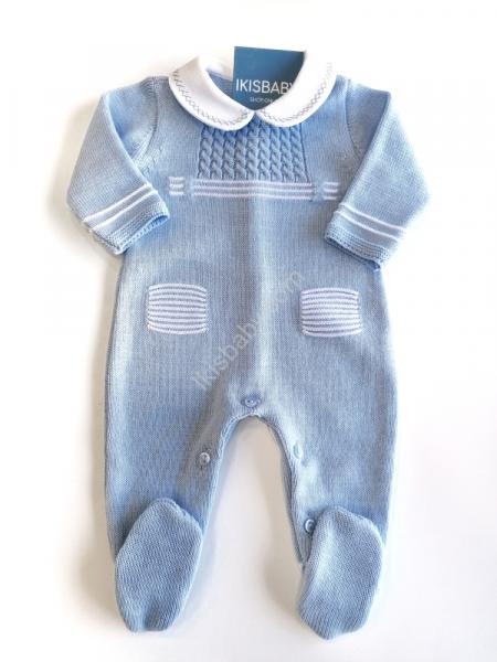 Babygrow malha algodão azul