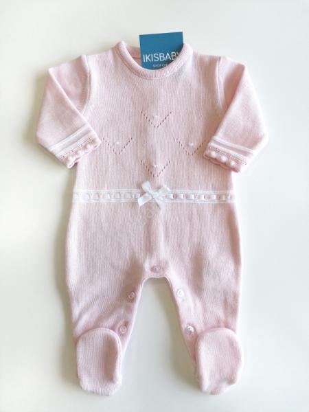 Babygrow malha algodão rosa