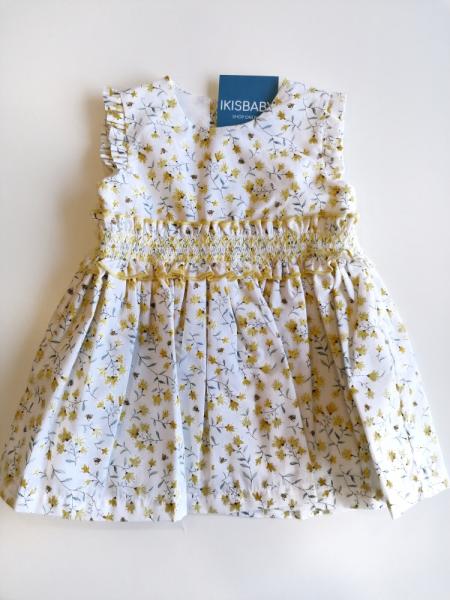 Vestido bebé menina flores amarelo