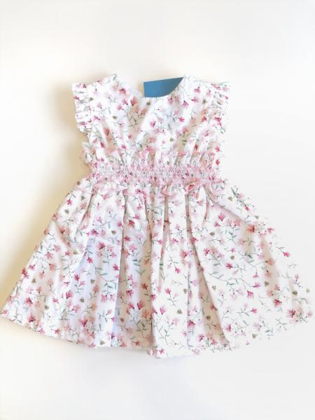 Vestido bebé menina flores rosas