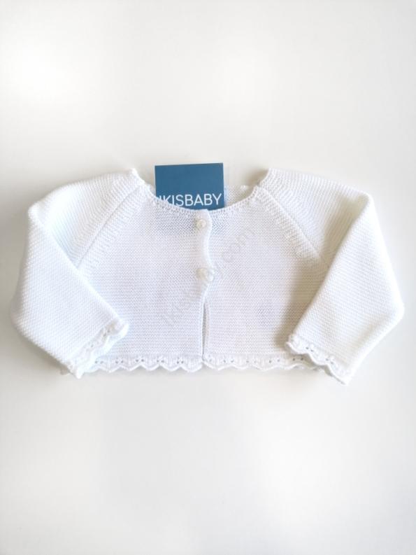 Bolero malha branco para bebé