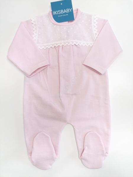Babygrow algodão rosa rendado
