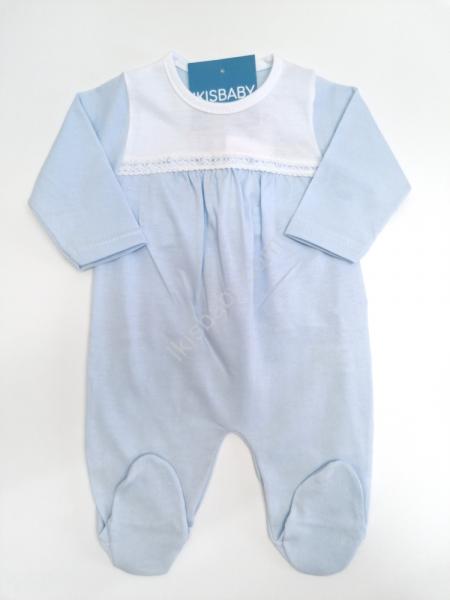 Babygrow algodão azul rendado