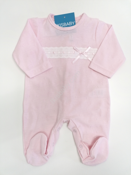 Babygrow algodão rosa laço