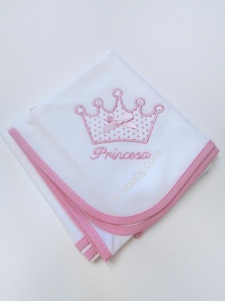Fralda rosa coroa bordada