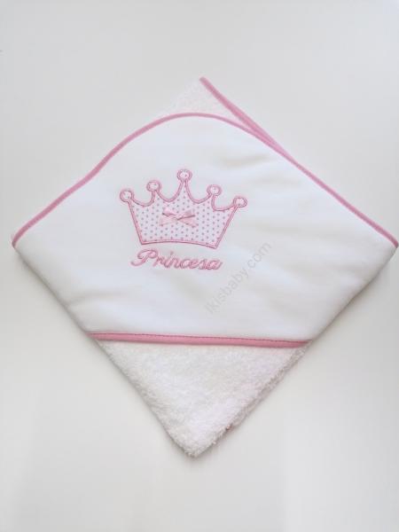 Toalha de banho branco rosa coroa