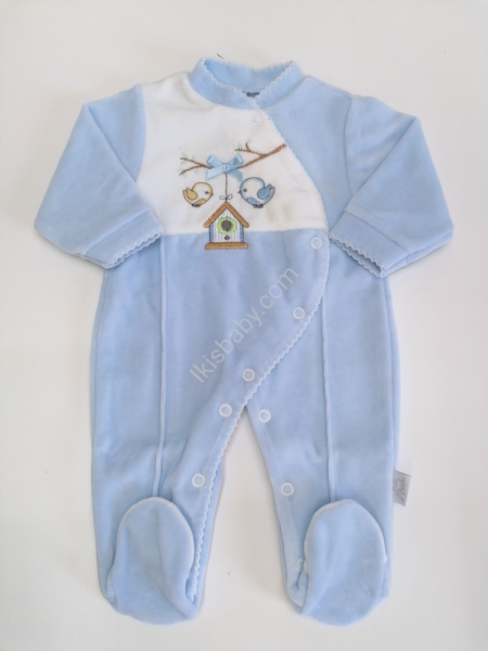 Babygrow em Veludo azul