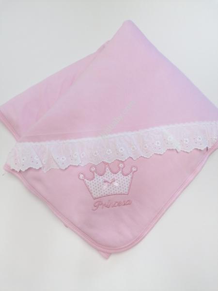 Manta em algodão rosa