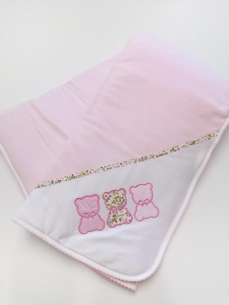 Manta algodão rosa