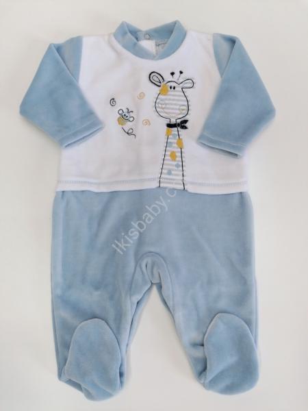Babygrow em Veludo azul índigo