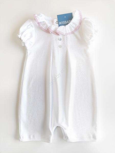 Macacão de bebé branco e rosa