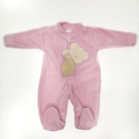 babygrow de veludo urso rosa