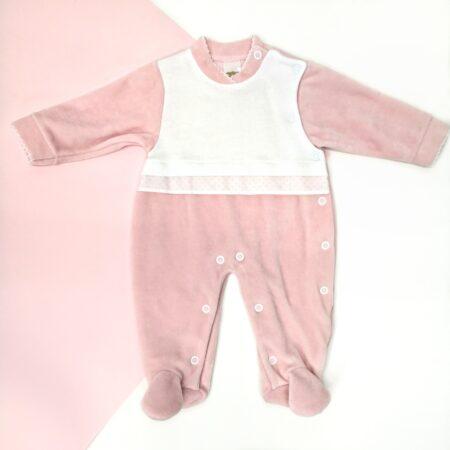 babygrow veludo rosa vintage