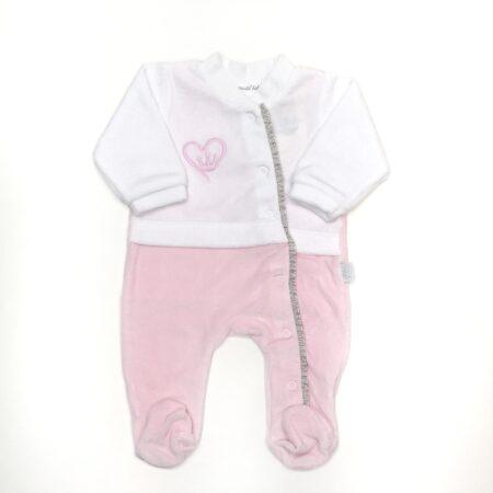 babygrow veludo coração rosa