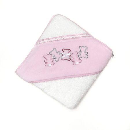 toalha de bebe rosa
