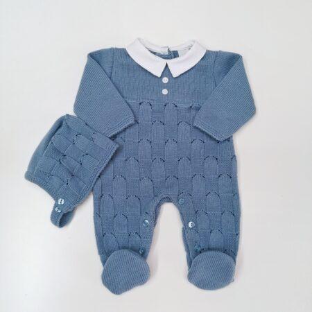babygrow em malha azul cobalto