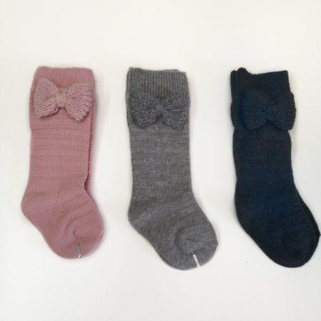 meias altas malha com laço